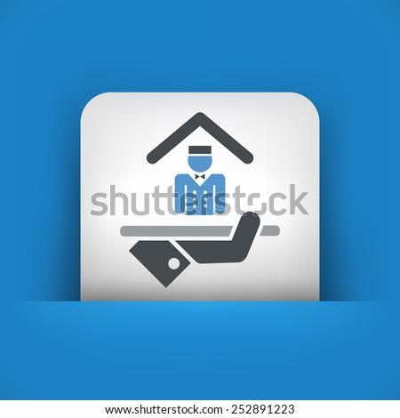 Hotel icon. Porter service. - stock vector