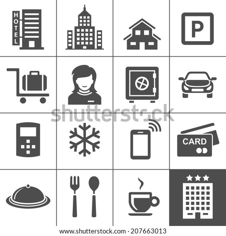 Hotel icon set. Vector icons for hotel booking and reservations app. Simplus series - stock vector