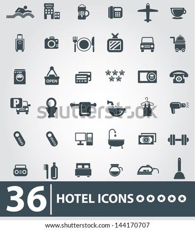 Hotel icons,Gray background version,vector - stock vector