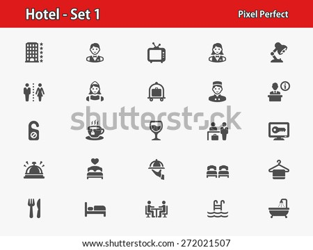 Hotel Icons. Professional, pixel perfect icons optimized for both large and small resolutions. EPS 8 format. - stock vector