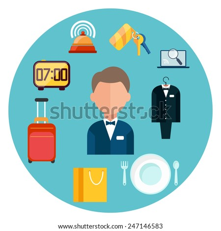 Hotel icons set. Man around hotel item icons in flat design - stock vector