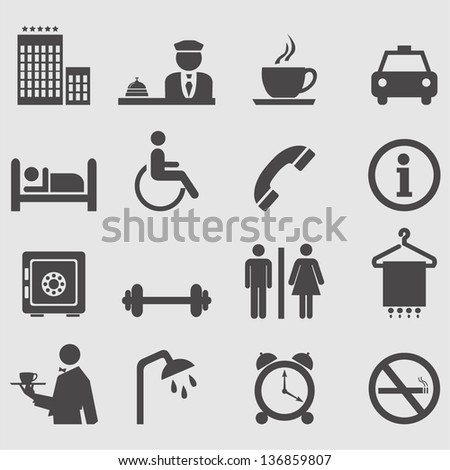 Hotel icons set.Vector - stock vector