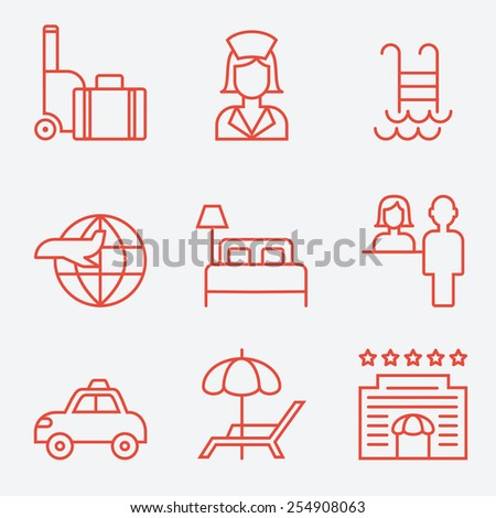 Hotel icons, thin line style, flat design - stock vector