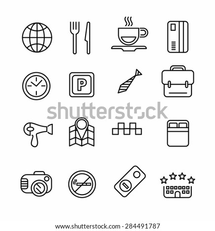 Hotel or apartments and travel icon set. Elements for print, mobile and web applications. - stock vector