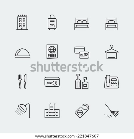 Hotel related vector icons set, thin line - stock vector