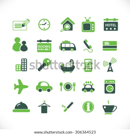 hotel, renting, apartment icons, signs, illustrations  - stock vector
