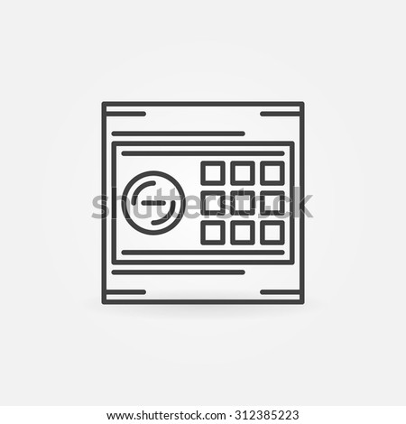 Hotel safe icon or logo - vector dark thin line electronic safe symbol - stock vector