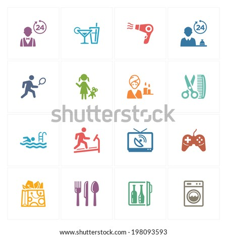 Hotel Services & Facilities Icons Set 2 - Colored Series  - stock vector