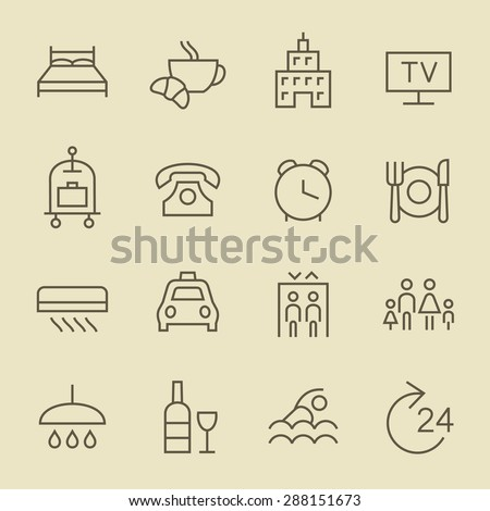 Hotel services icon set - stock vector