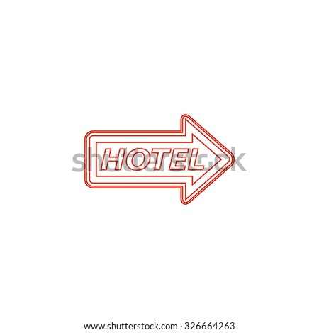 Hotel signboard vector. Red outline vector pictogram on white background. Flat simple icon - stock vector