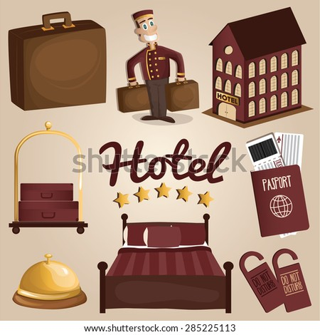 Hotel things and service set. Vector illustration   - stock vector