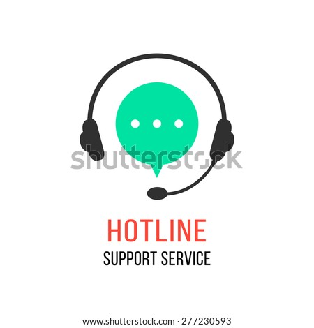 hotline support service with headphones. concept of consultation, telemarketing, consultant, secretary. isolated on white background. flat style modern brand design vector illustration - stock vector