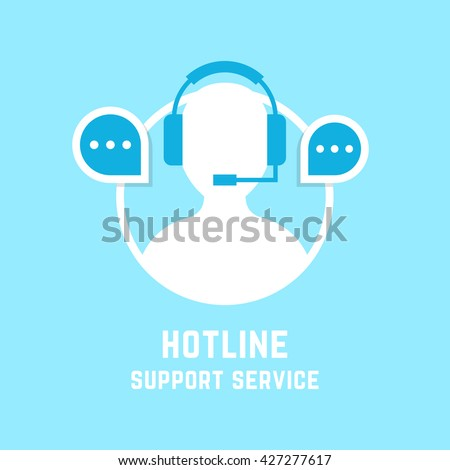 hotline with assistant manager. concept of ask helpline, social network mark, feedback, sale, webinar, chat answer, technician. flat style trend modern design vector illustration on white background - stock vector