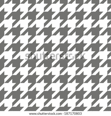 Houndstooth seamless black and white vector pattern. Traditional Scottish dark grey tile plaid fabric with gradient  - stock vector