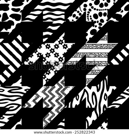 Houndstooth Seamless Vector Pattern. Mix of Black and White Backgrounds - stock vector