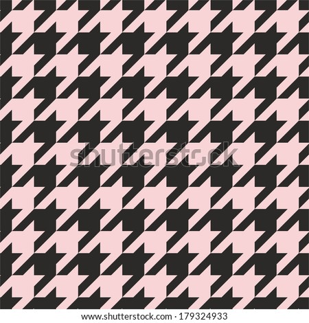 Houndstooth vector seamless pastel pink and black pattern or background. Traditional Scottish plaid fabric collection for website background or desktop wallpaper. - stock vector