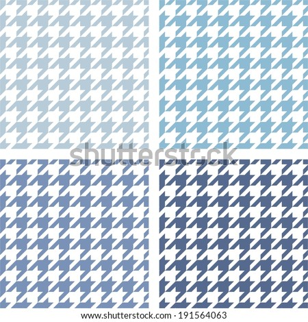 Houndstooth vector tile blue and white pattern set. Tweed fashion seamless background with retro dark and light tartan woven for desktop wallpaper or website design - stock vector