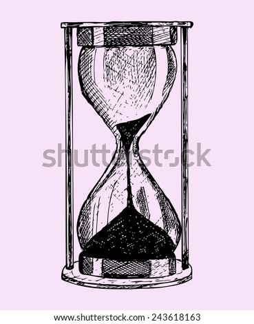 hourglass, doodle style,sketch illustration isolated on pink background - stock vector