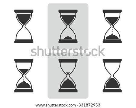 Hourglass icons set.  Different positions of sandglass. Vector  illustration. - stock vector