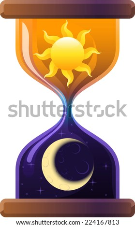 Hourglass Sun & Moon Sand Clock. Vector Illustration Cartoon. - stock vector