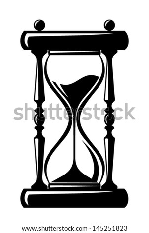 Hourglass. Vector black silhouette. - stock vector