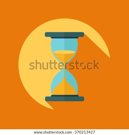 Hourglass vector icon with long shadow - stock vector