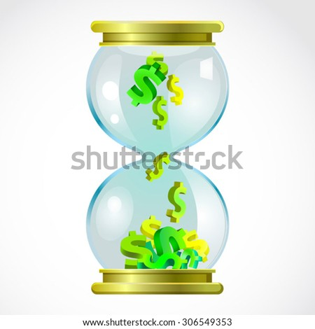 hourglass with dollars - stock vector