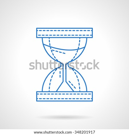 Hourglass with flowing sand. Time equipment. Business planning, organization, time management concept. Flat blue line style vector icon. Single web design element for mobile app or website. - stock vector