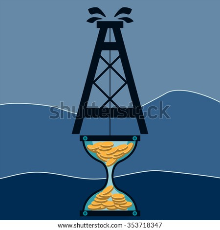 Hourglass with gold coins and an oil rig. Mining. Time is money. Black gold. - stock vector