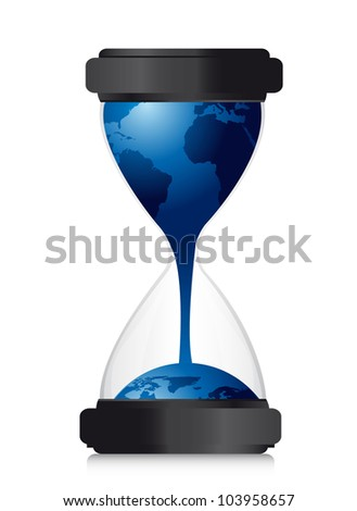 hourglass with planet over white background, conceptual. vector illustration - stock vector