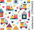 house and locomotive seamless pattern - stock vector