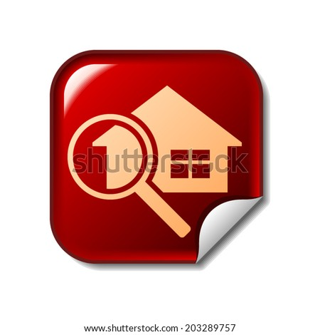 House and magnifier icon on red web sticker - stock vector