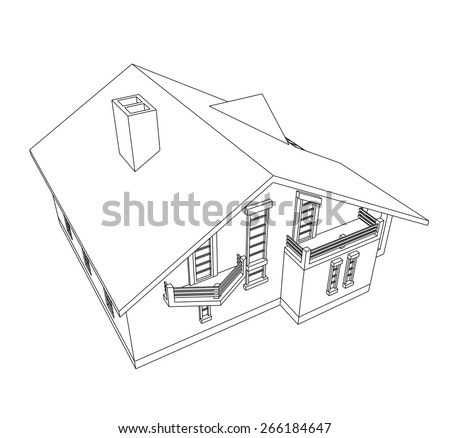 house building - stock vector
