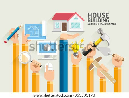 House Building Service and Maintenance. Vector Illustrations. - stock vector