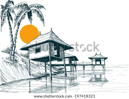 House built on water or water bungalows sketch - stock vector