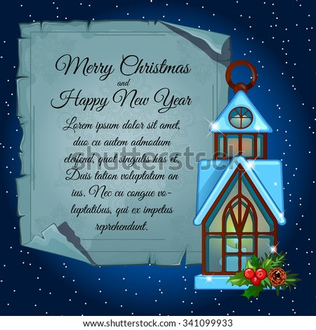 House candle holder and card for your text, Christmas decoration - stock vector