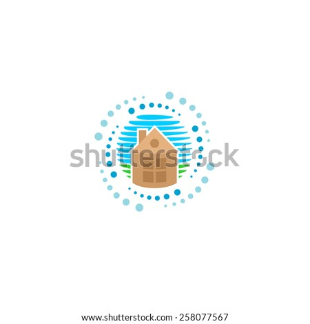 House cleaning logo. Household symbol with home silhouette, blue sky and green lawn. Rotating particles around. - stock vector