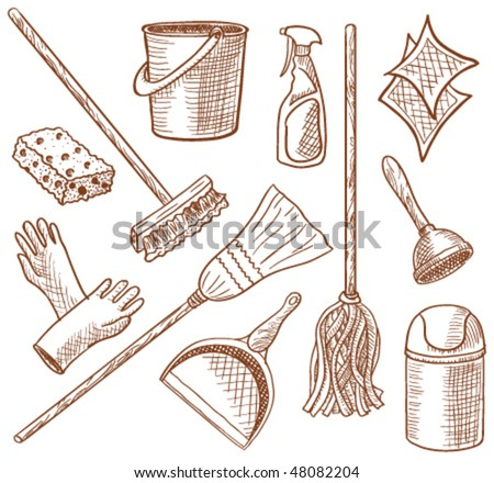 House cleaning service hand-drawn icon set - stock vector