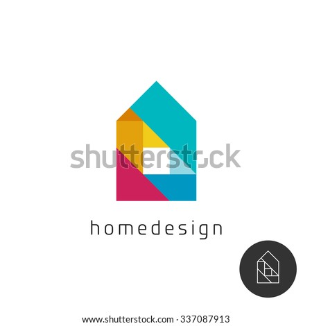 House design concept colorful rainbow geometric elements logo. - stock vector