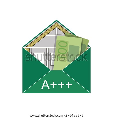 House Eco Green Building Envelope Energy Efficiency Weatherization Construction standards home insulation Thermal  Environmentally friendly and Save money Euros energy class A +++ Symbolic logo vector - stock vector