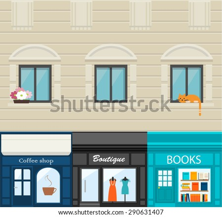 House facade with coffee shop, boutique and books store, vector illustration - stock vector