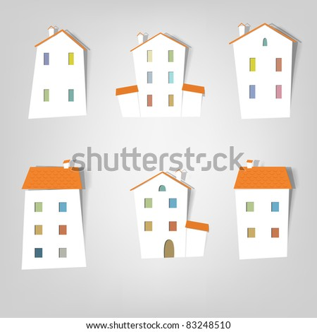 House. Flat icon set - stock vector
