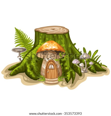 House for gnome made from mushroom - stock vector