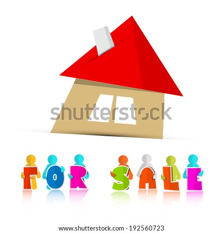 House For Sale Paper Icon Isolated on White Background - stock vector