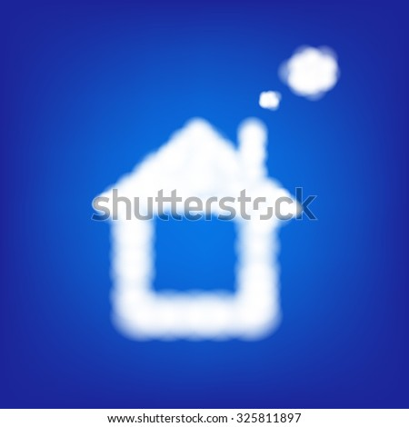 House From Clouds In Blue Sky With Gradient Mesh, Vector Illustration - stock vector