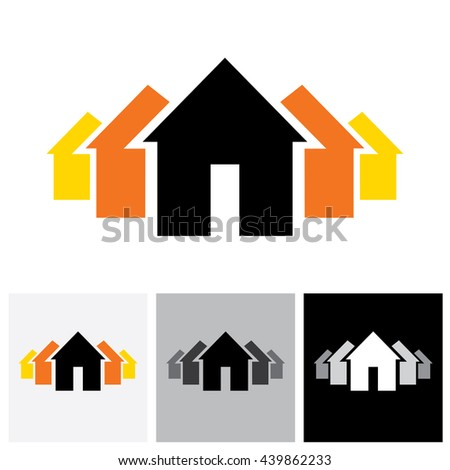 House ( home ) & residence sign for real estate - vector logo icon. This represents buying & selling property, residential accommodations, offices, etc - stock vector