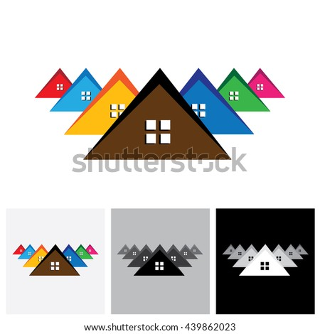 House ( home ), residential locality vector logo icon of a town or city. This also represents buying & selling residential property, office, etc - stock vector