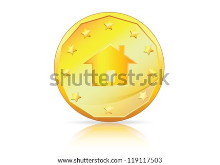 House, Home Symbol on a gold coin - A concept depicting Mortgage, Home Loan etc - stock vector