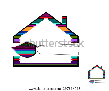 House Icon Design. Painters choice,house paint,repair,painting services,painting logo. Vector logo template. - stock vector