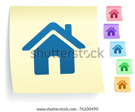 House Icon on Post It Note Paper Collection Original Illustration - stock vector